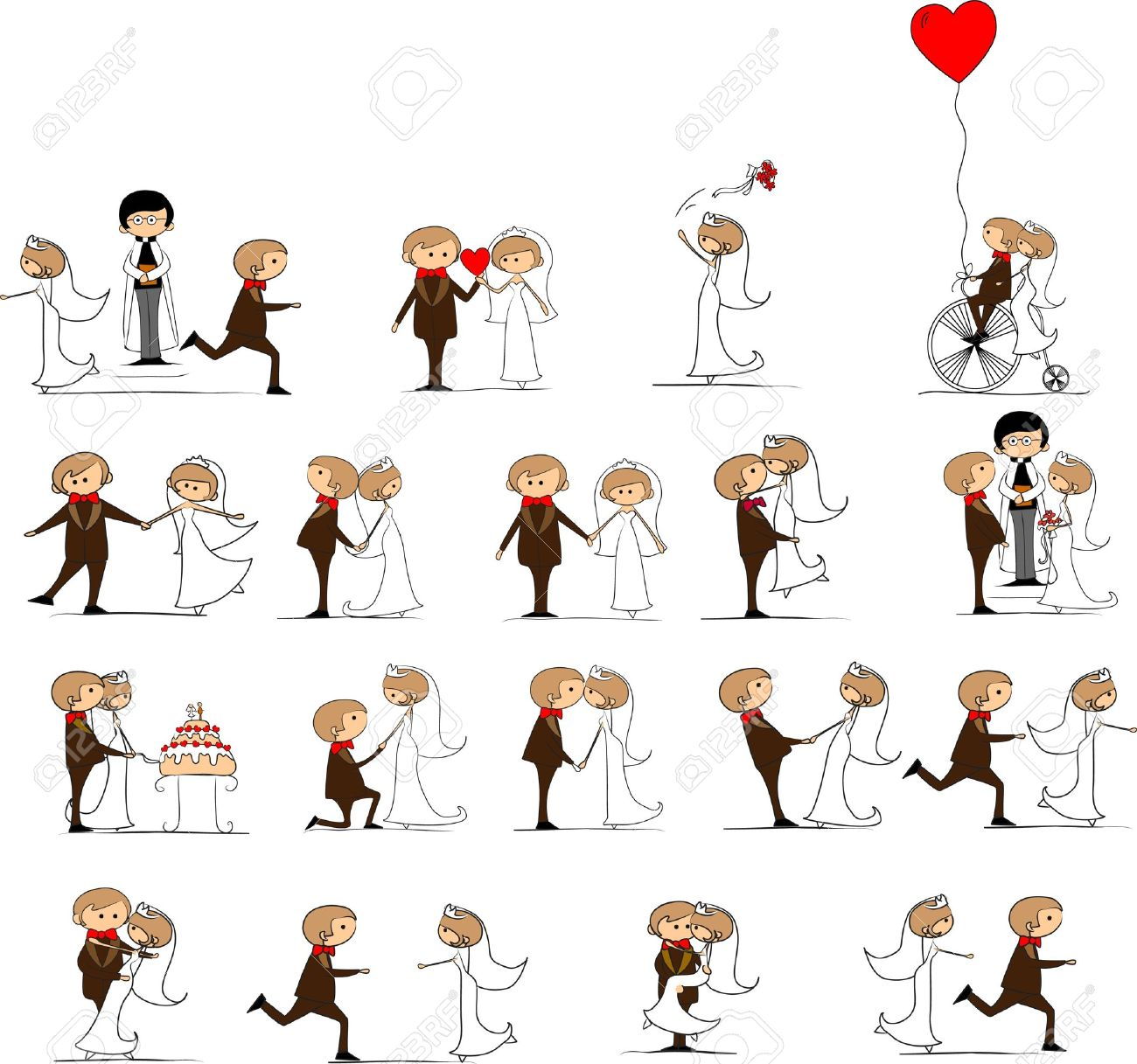 set of wedding pictures, bride and groom in love Stock Vector - 11325430