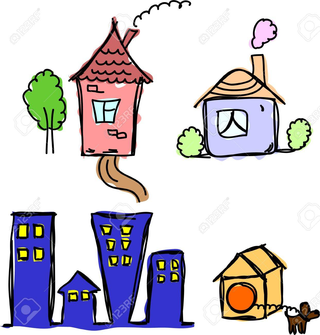 art houses for your design Stock Vector - 11498764