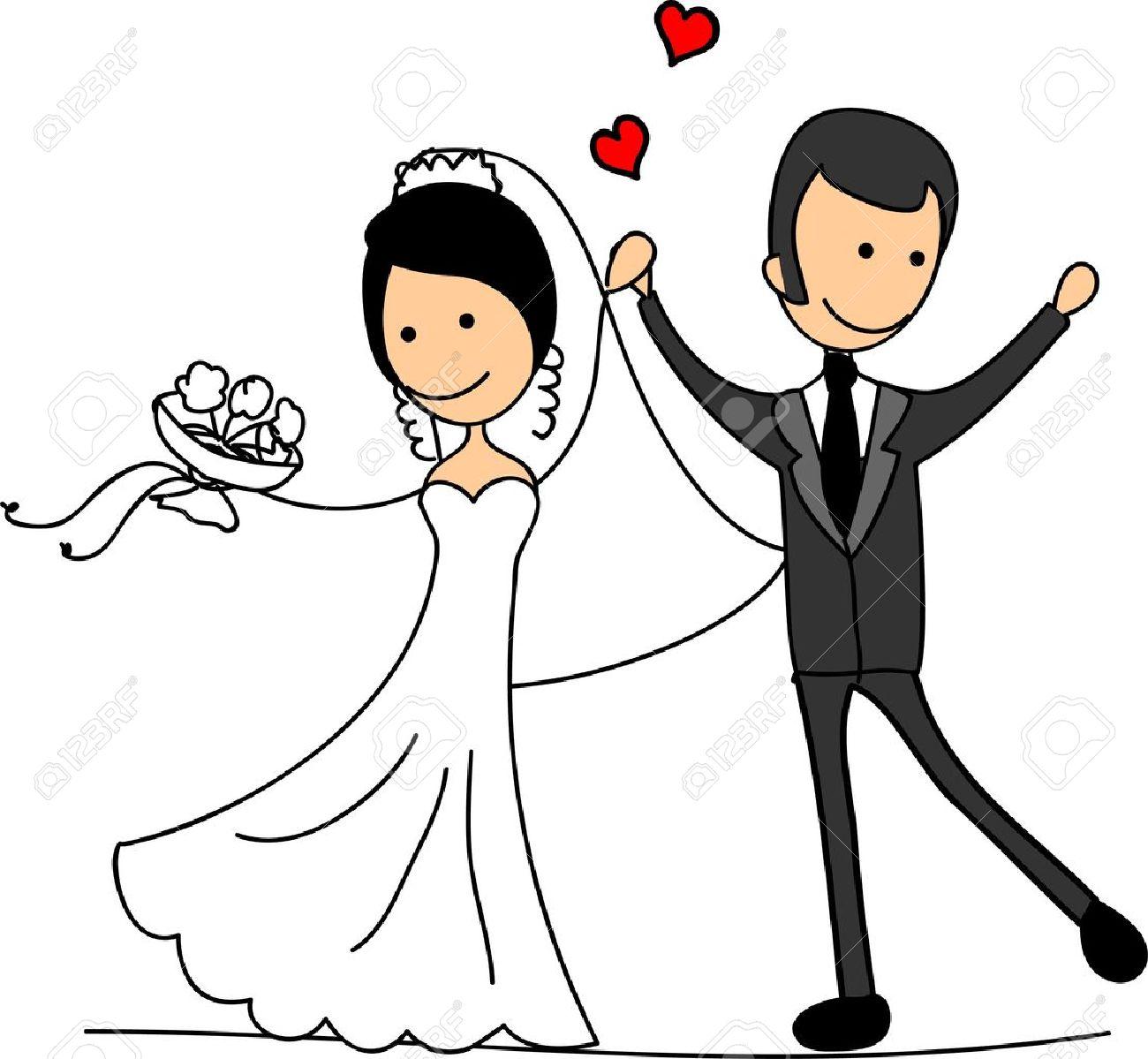 sweethearts and happy bride and groom royalty free cliparts vectors rh 123rf com clipart bride and groom cartoon wedding bride and groom clipart