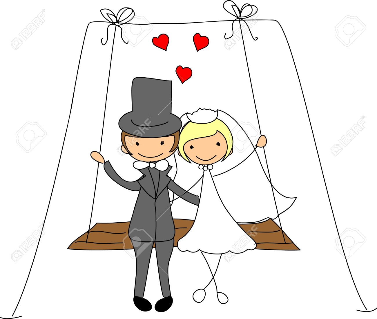 The Bride And Groom On A Swing Royalty Free Cliparts, Vectors, And ...