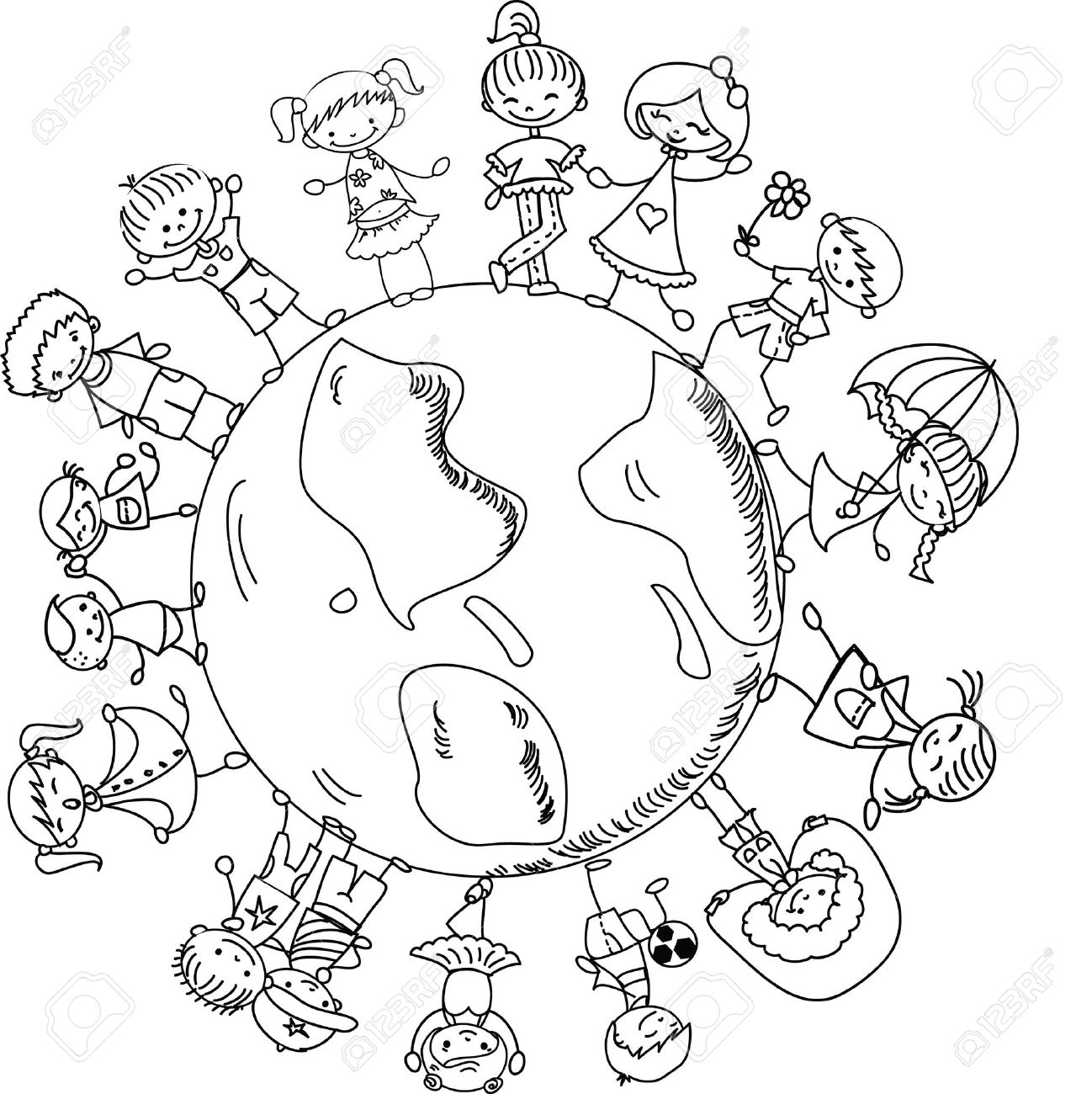 cute children holding hands around the globe royalty free cliparts