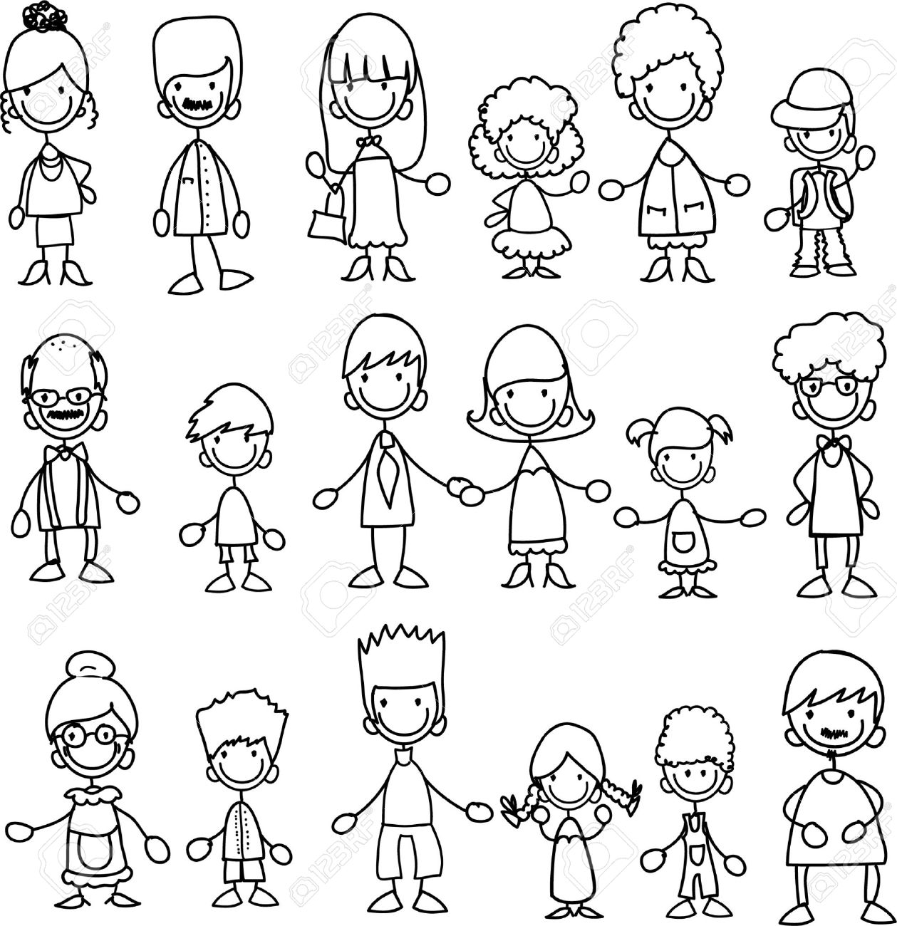 Doodle members of large families Stock Vector - 11499190