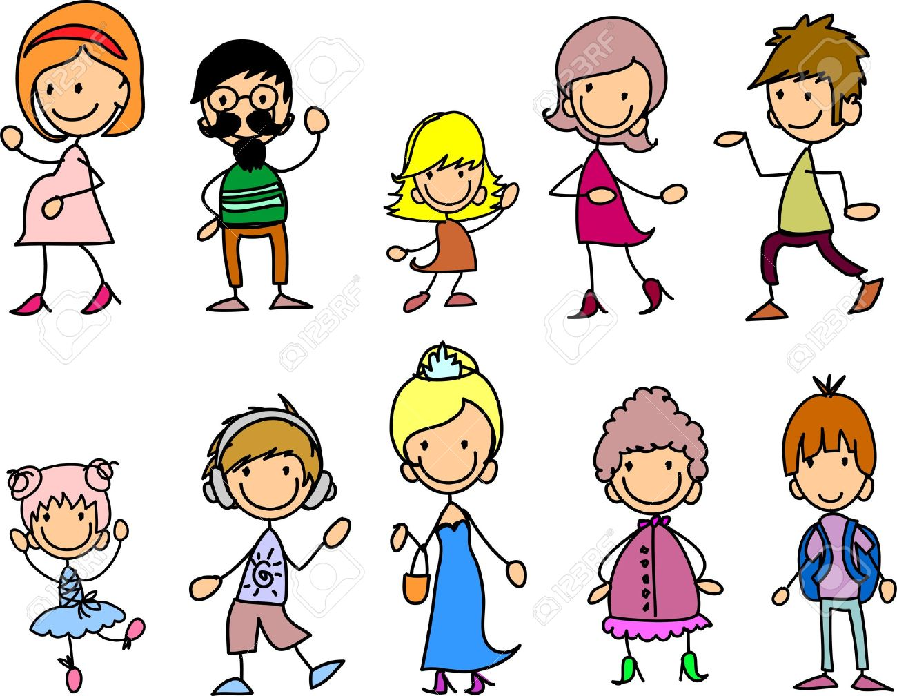 Doodle Members Of Large Families Royalty Free Cliparts, Vectors ...