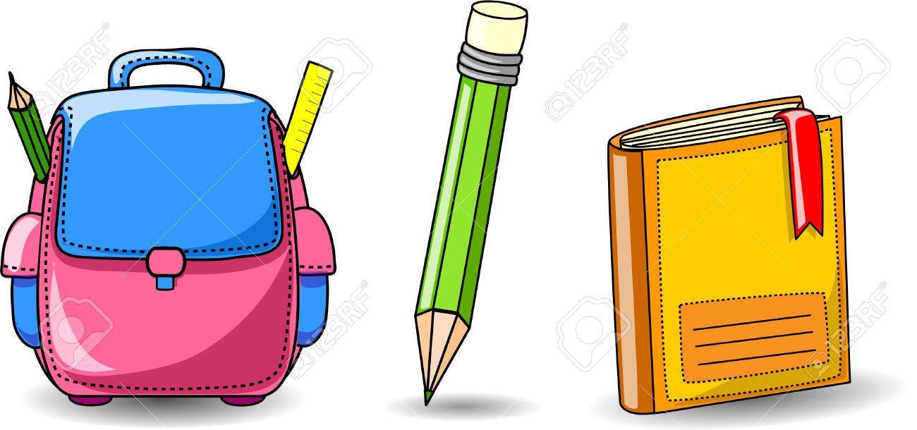 Cartoon School Bag, Book And Pencil Royalty Free Cliparts, Vectors ...