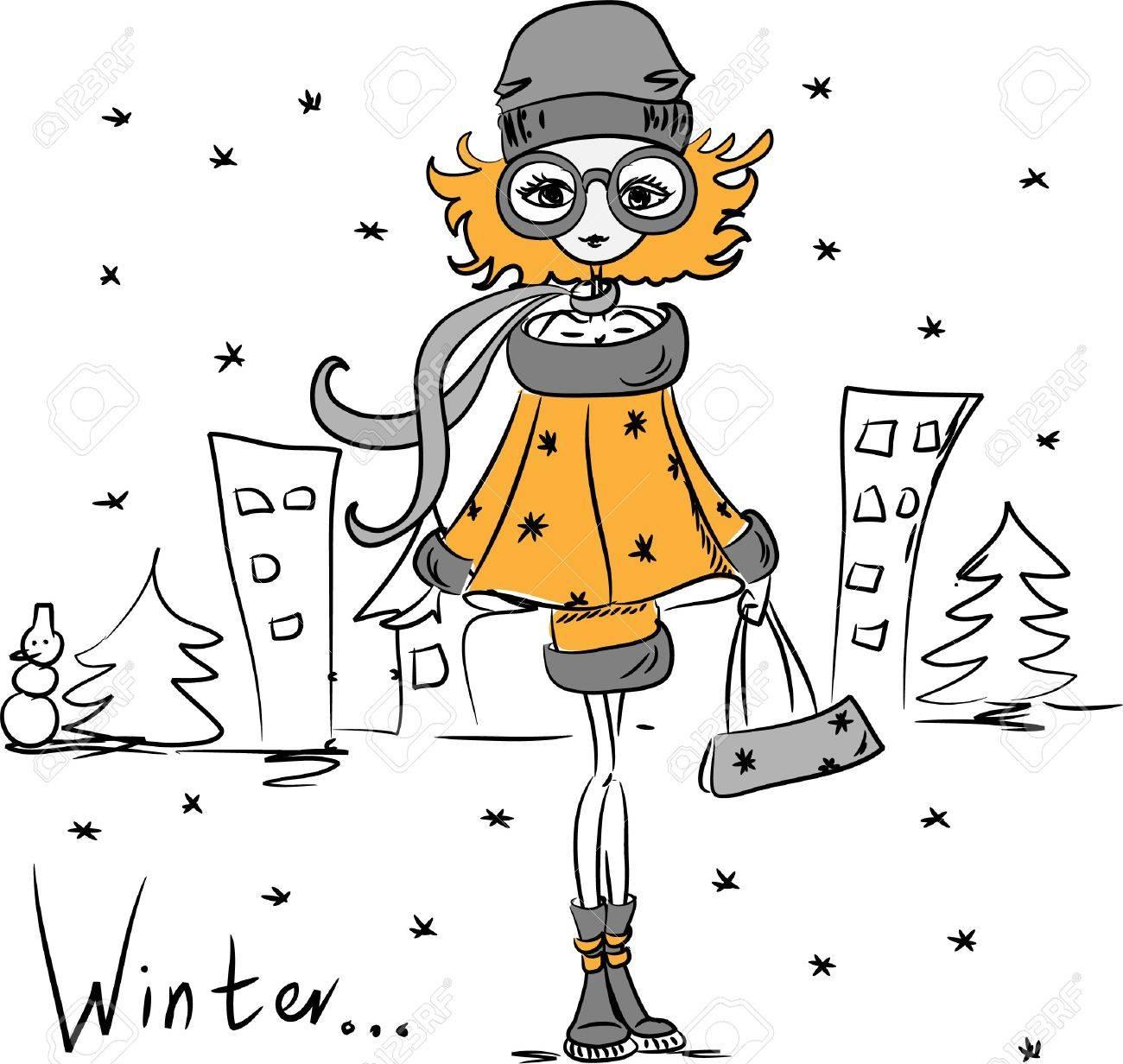 Cartoon fashionable girl Stock Vector - 11499451