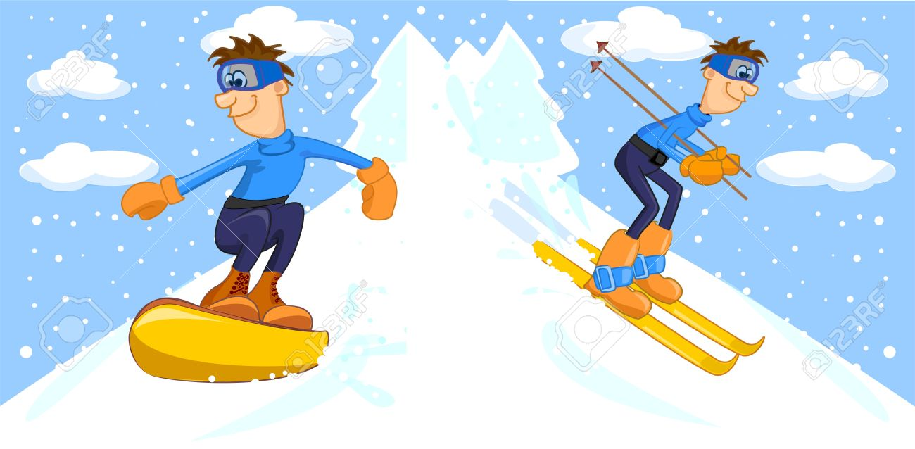 Funny Cartoon Snowboarder And Skier Royalty Free Cliparts Vectors And Stock Illustration Image 11659556