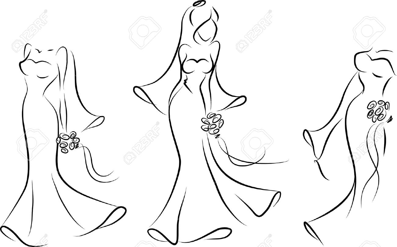 silhouette of a bride in a wedding dress royalty free cliparts