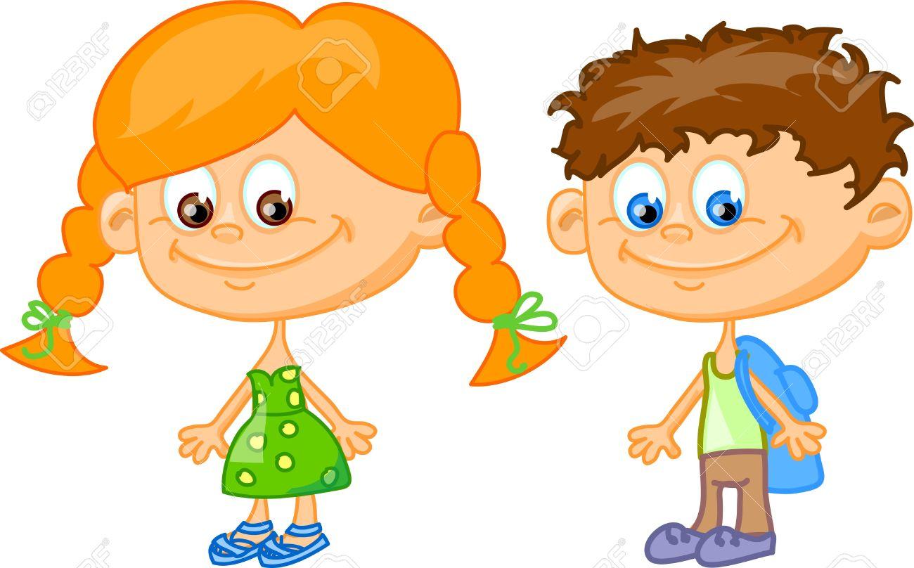 Los Niños De Dibujos Animados Los Estudiantes Ilustraciones