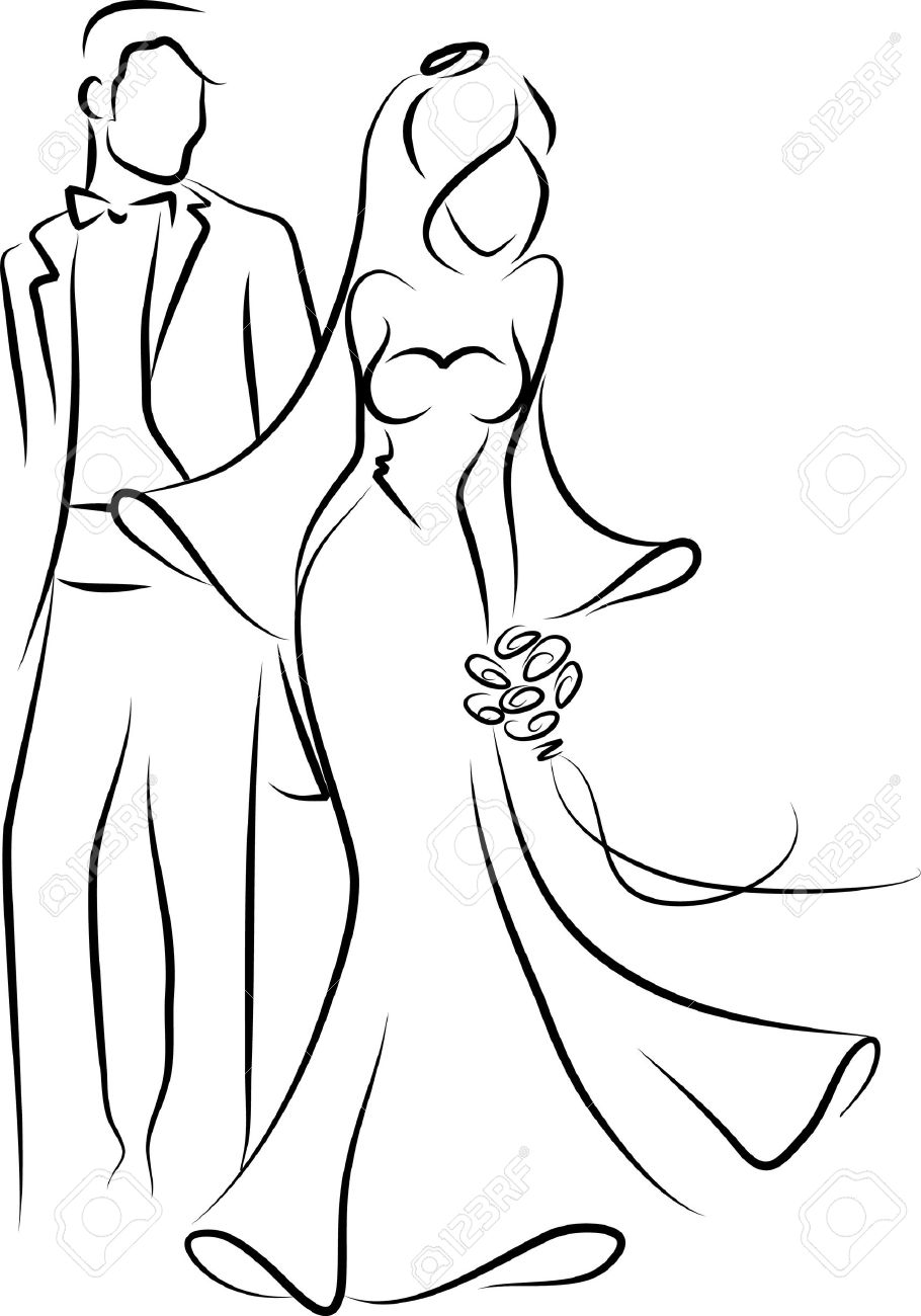 Silhouette of bride and groom, background Stock Vector - 11808995