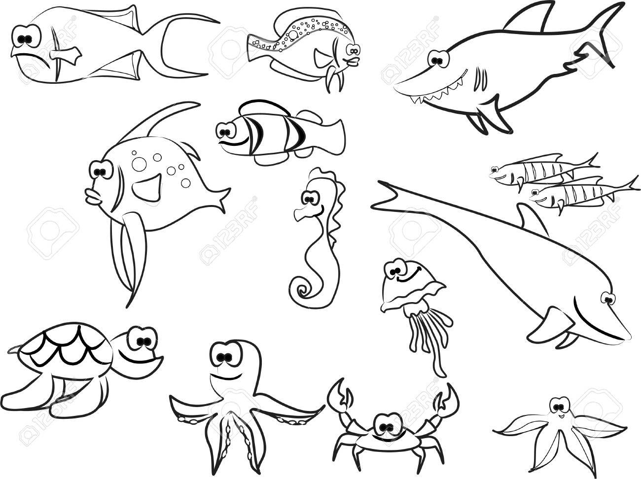 extra large set of marine fish including sharks Stock Vector - 11996010