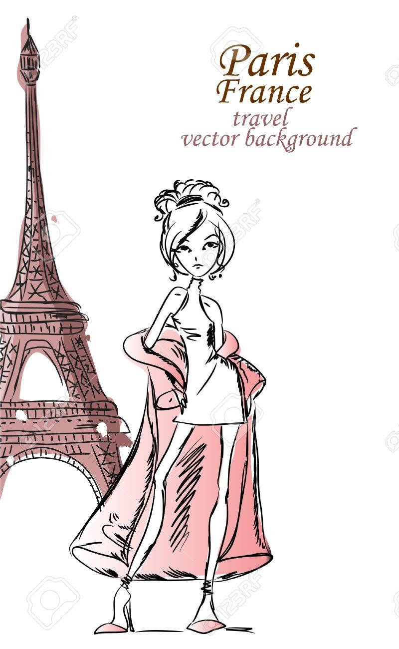 Fashion Cartoon Girl travels the world Stock Vector - 12183373