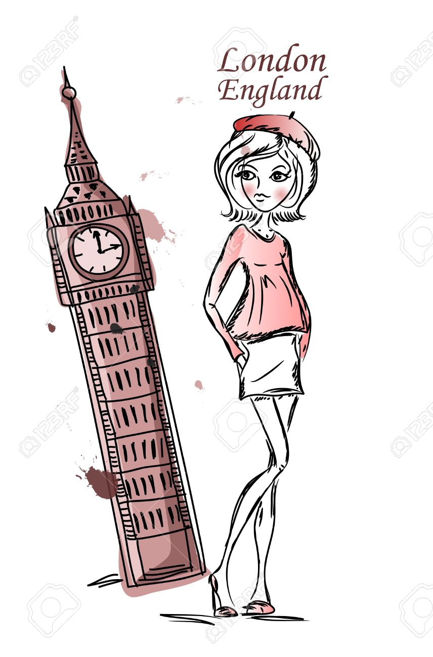 Fashion Cartoon Girl Travels The World Royalty Free Cliparts ...