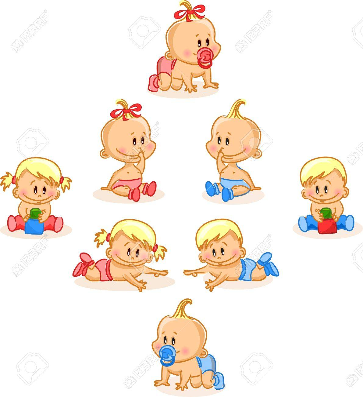 Vector illustration of baby boys and baby girls - 12480538