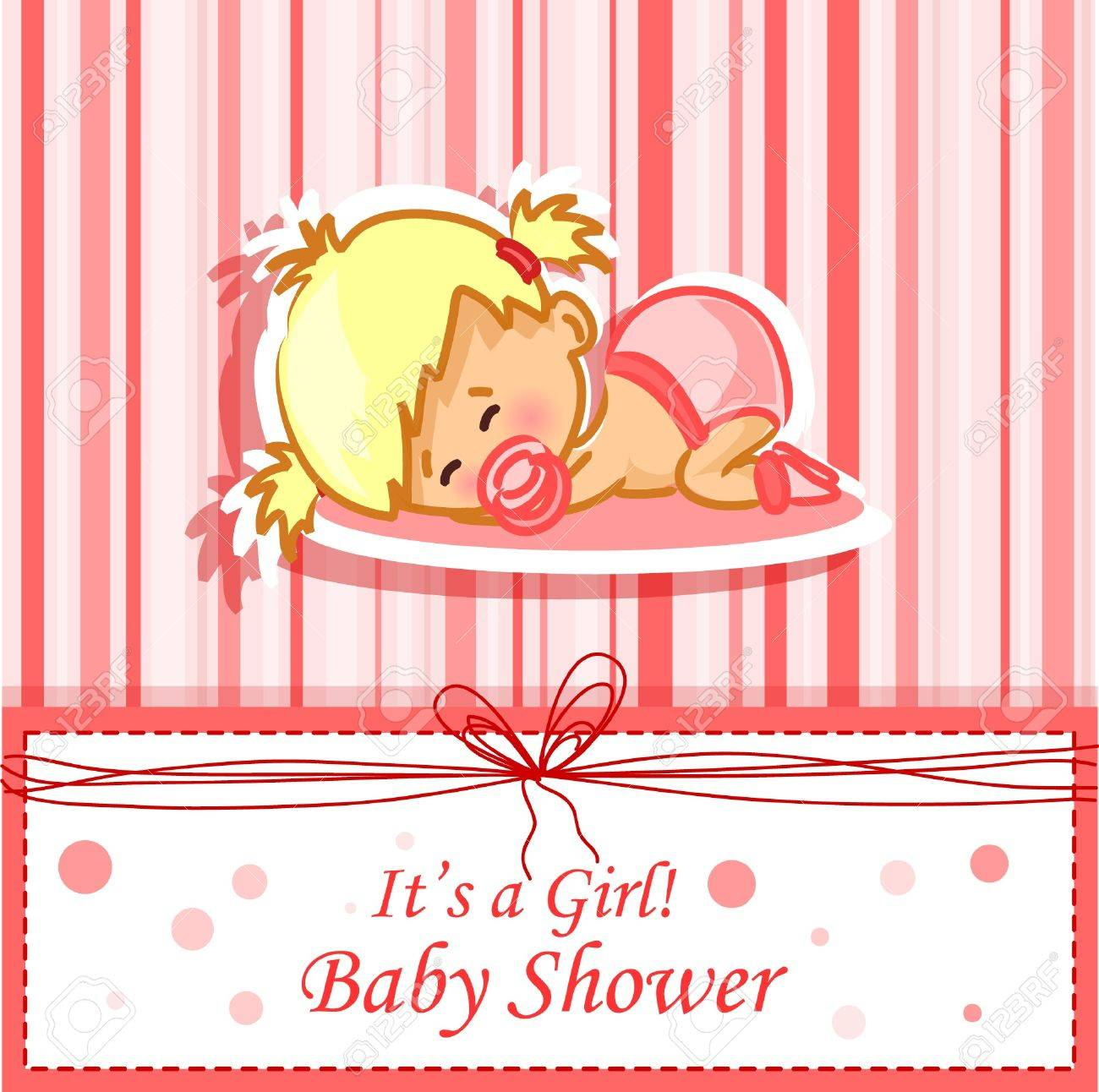 Announcement card with baby girl Stock Vector - 12480435