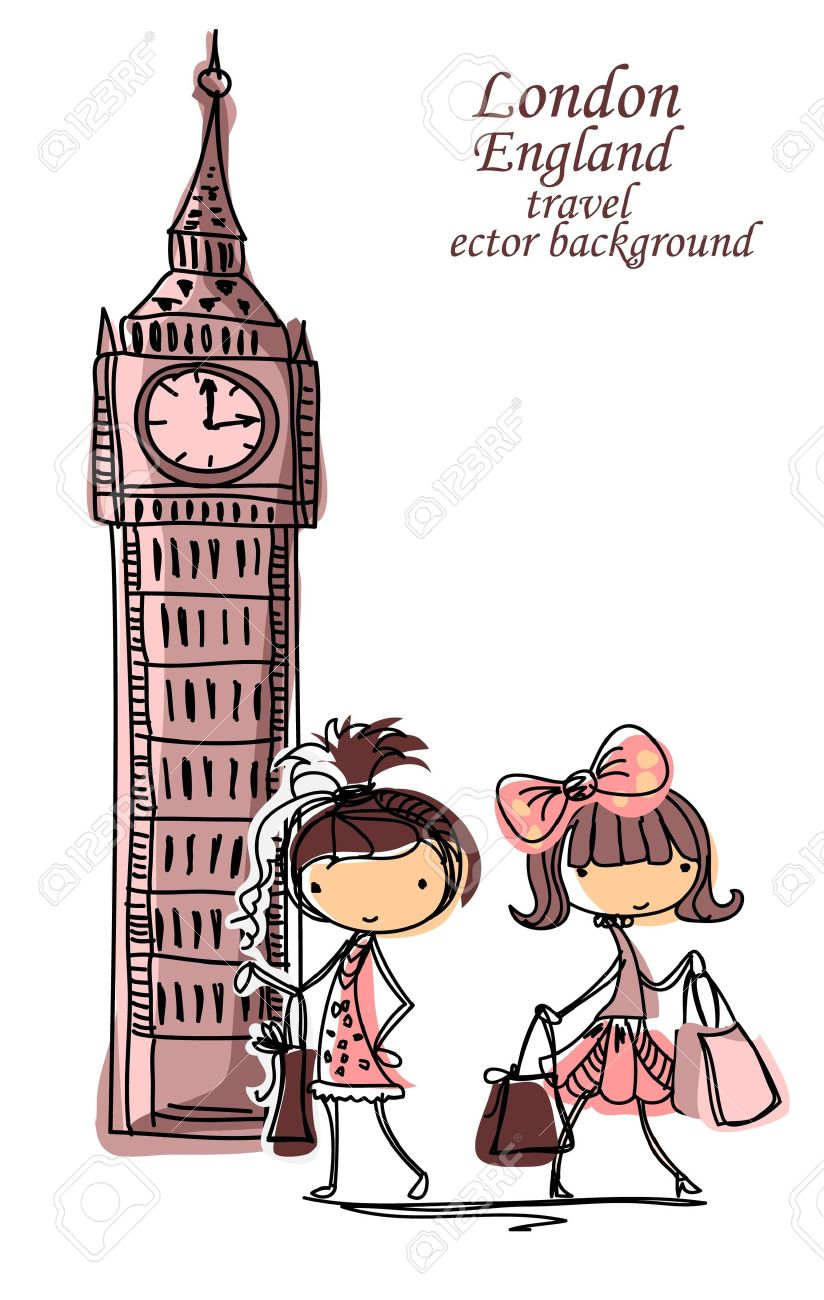 Fashion Girl dibujos animados viaja por el mundo Foto de archivo , 13106953