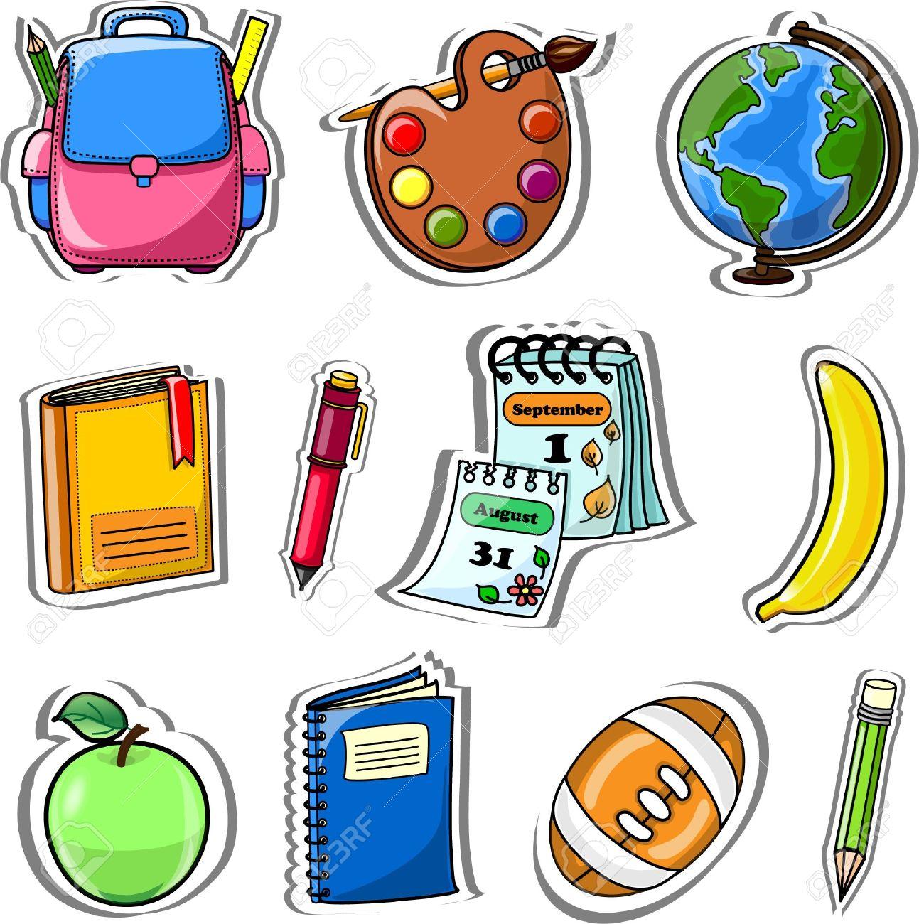Cartoon school bag, pencil, book, notebook Stock Vector - 13410300