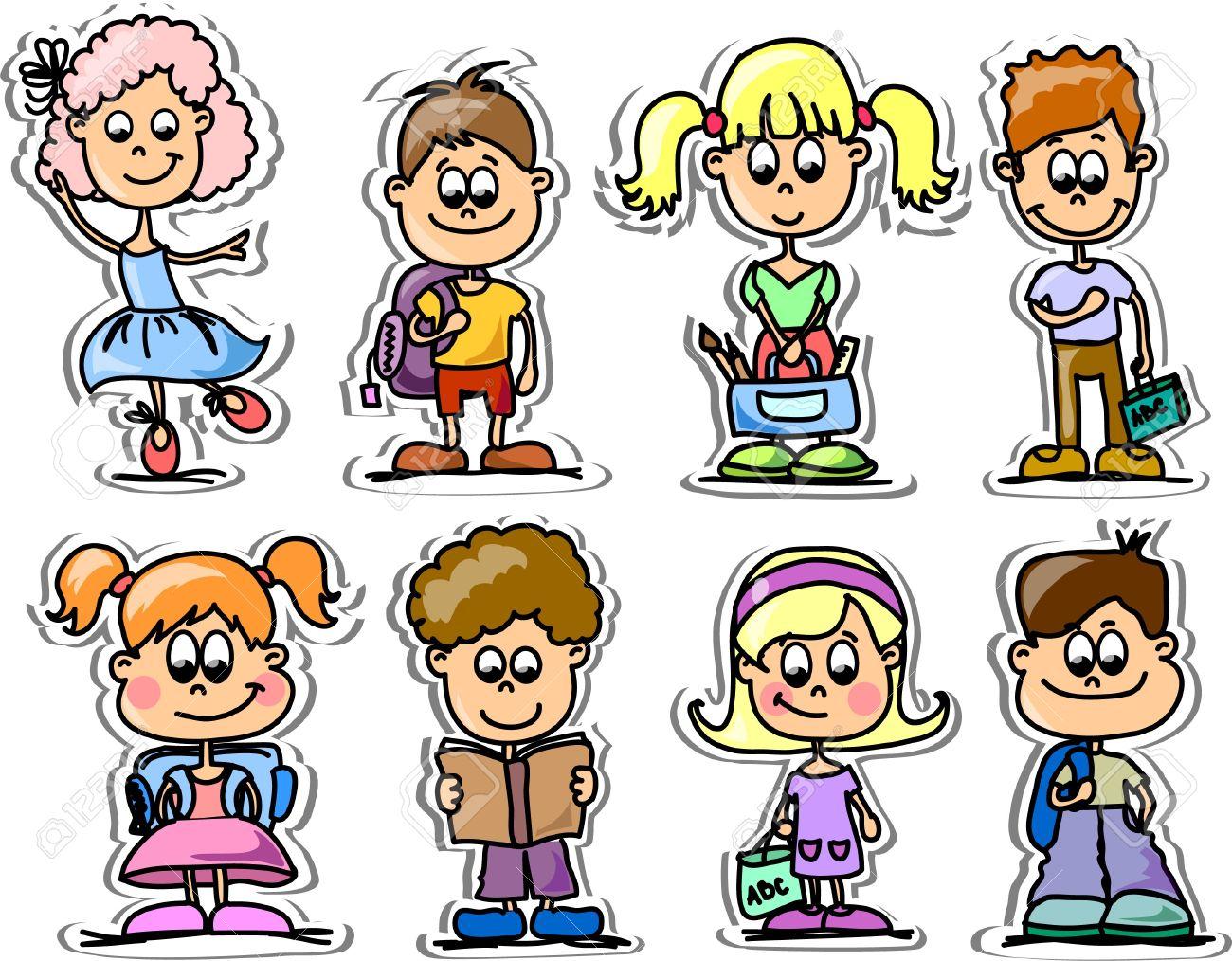 Cartoon cute schoolboys and schoolgirls Stock Vector - 13425213