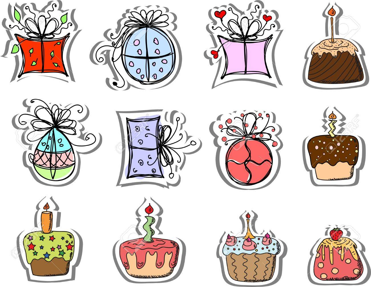 Birthday gifts and cupcakes Stock Vector - 13484175