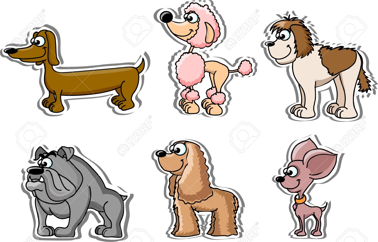 cartoon dogs 6 breeds royalty free cliparts vectors and stock