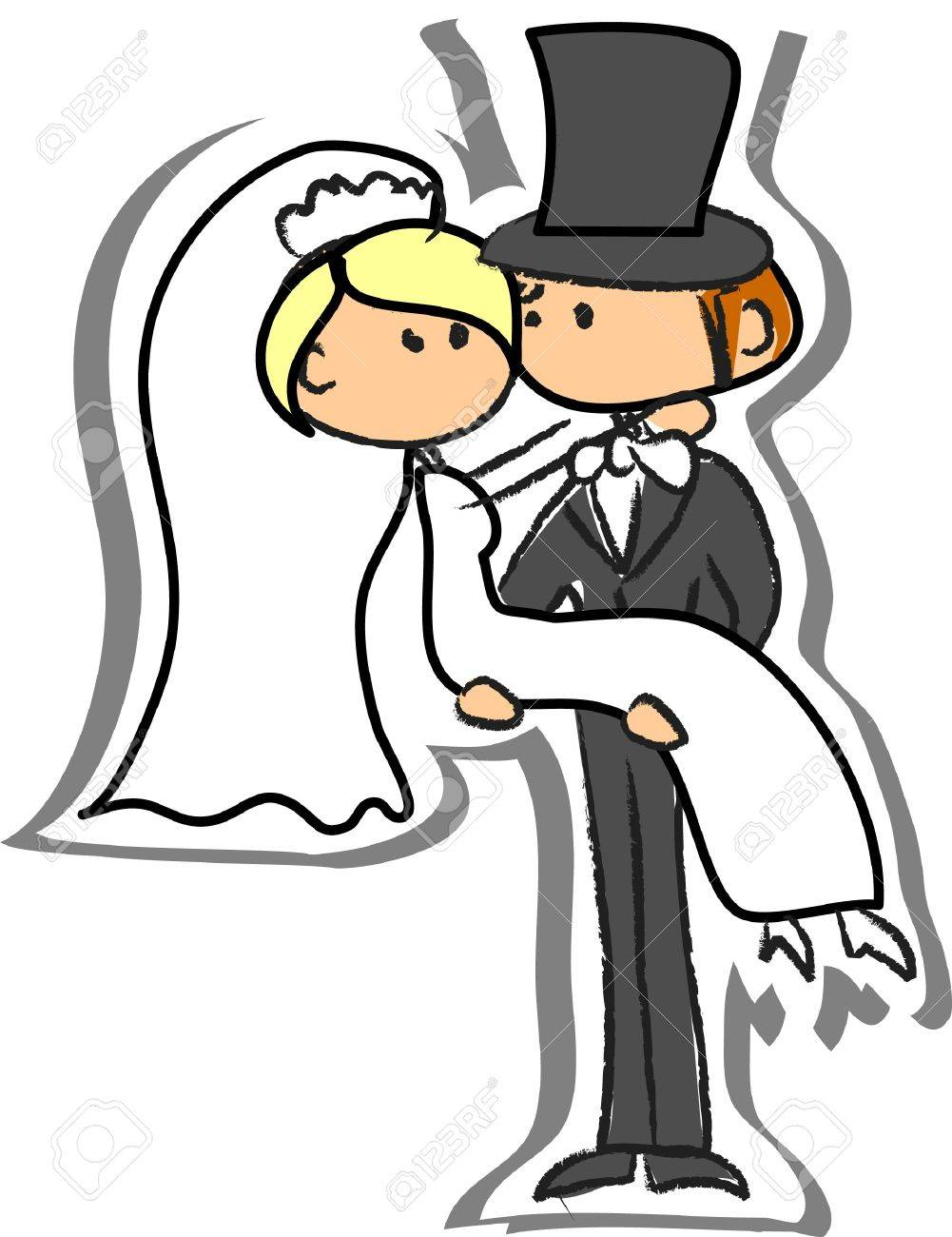 Wedding picture, bride and groom in love Stock Vector - 13858541
