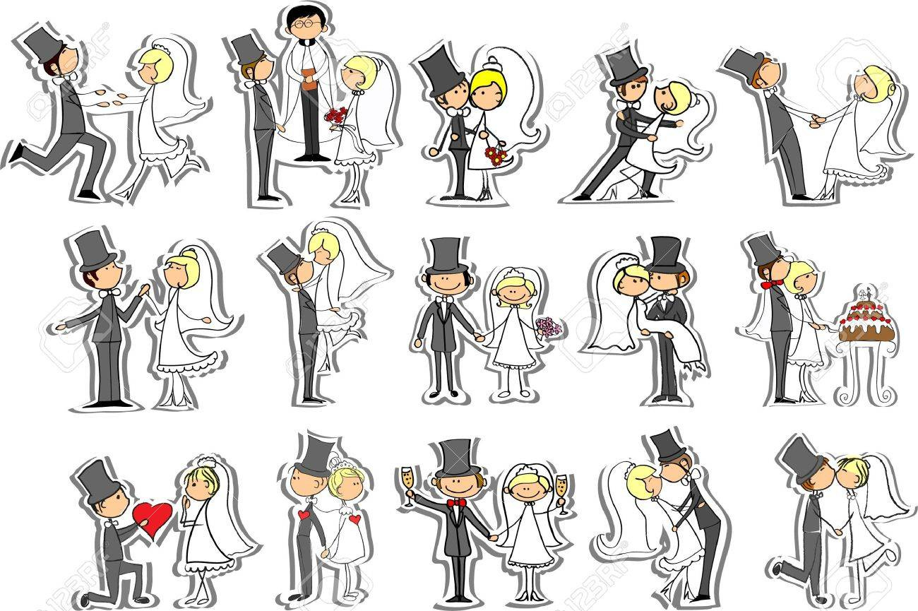 Wedding pictures, bride and groom in love - 14598080