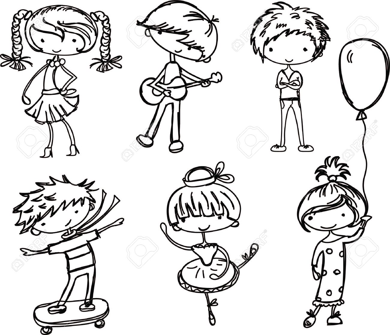 cartoon drawings of fashionable children stock vector 15682152 - Cartoon Drawings Of Children