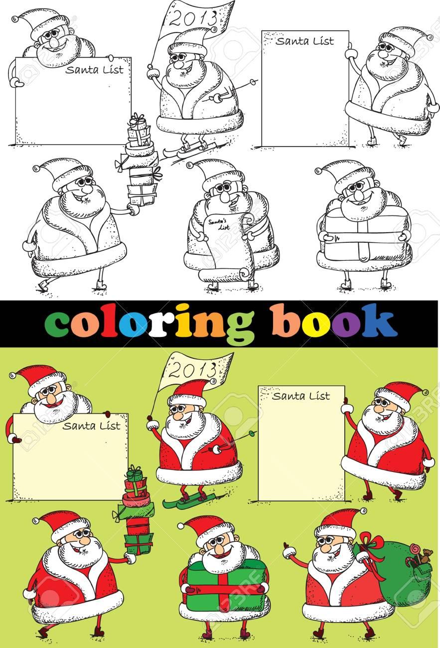 Libro Para Colorear De Papá Noel Ilustraciones Vectoriales, Clip Art ...