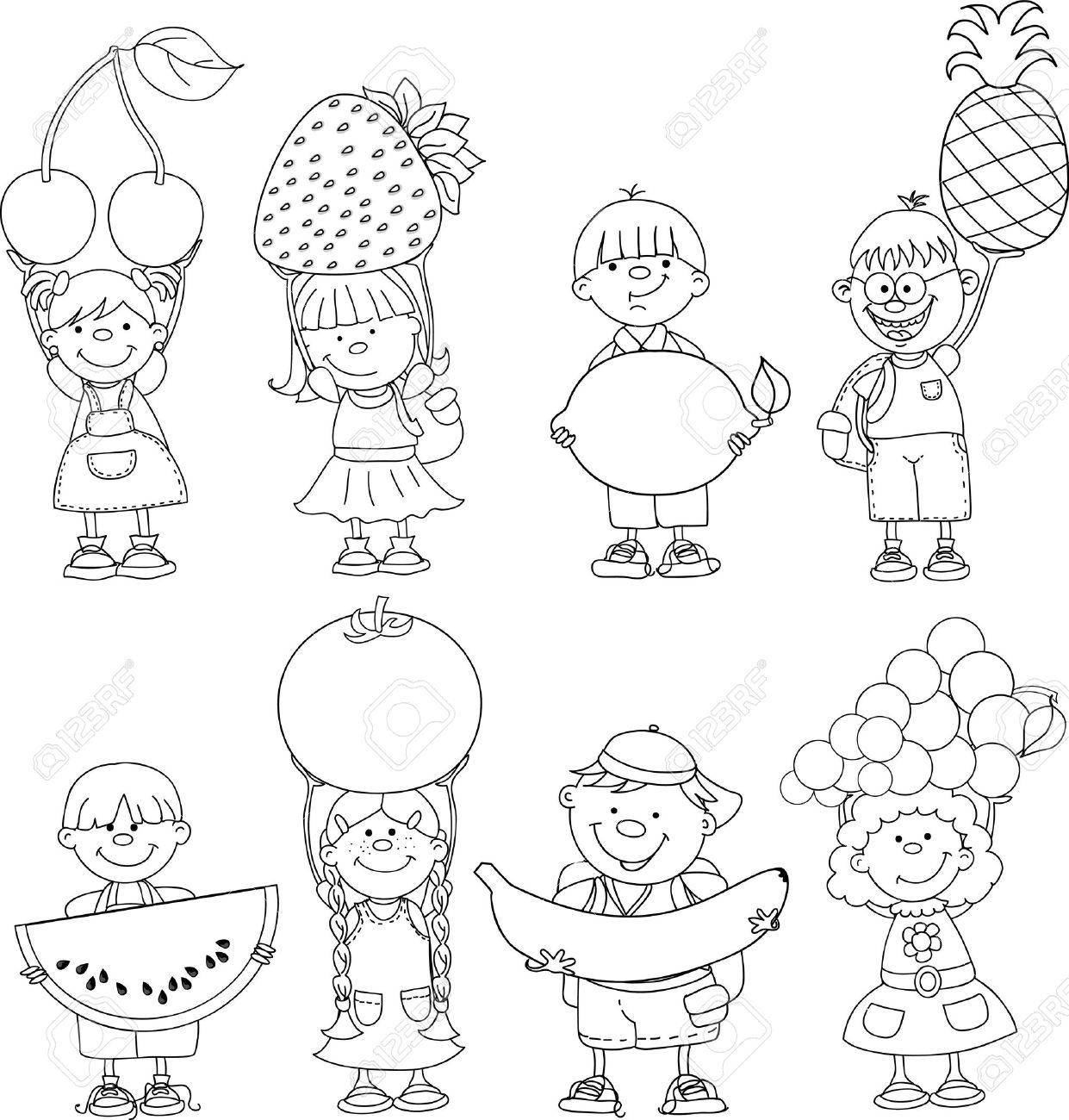 cartoon children with fruits and vegetable royalty free cliparts