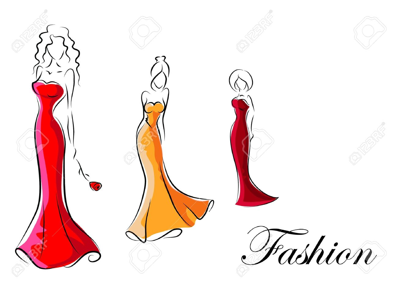 Fashion woman, hand drawing illustration Stock Vector - 16873082
