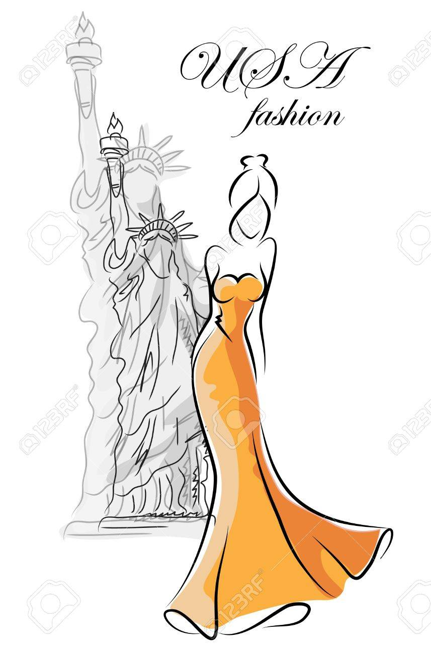 Fashion woman in USA Stock Vector - 16953518
