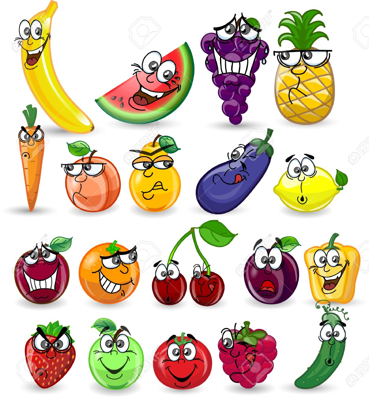 Cartoon fruits and vegetables Stock Vector - 16954233