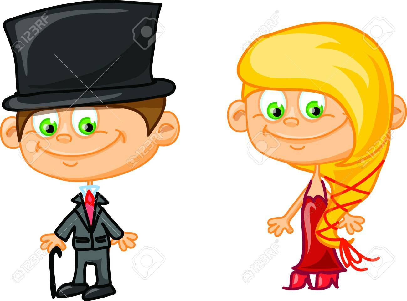 Set of cartoon cute children Stock Vector - 17205979