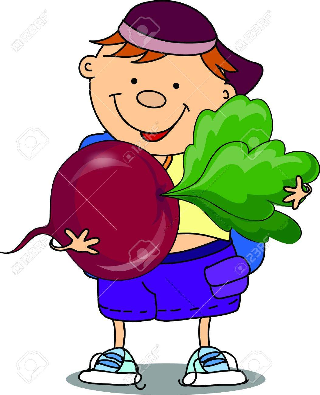 Cartoon boy with beet Stock Vector - 17205950