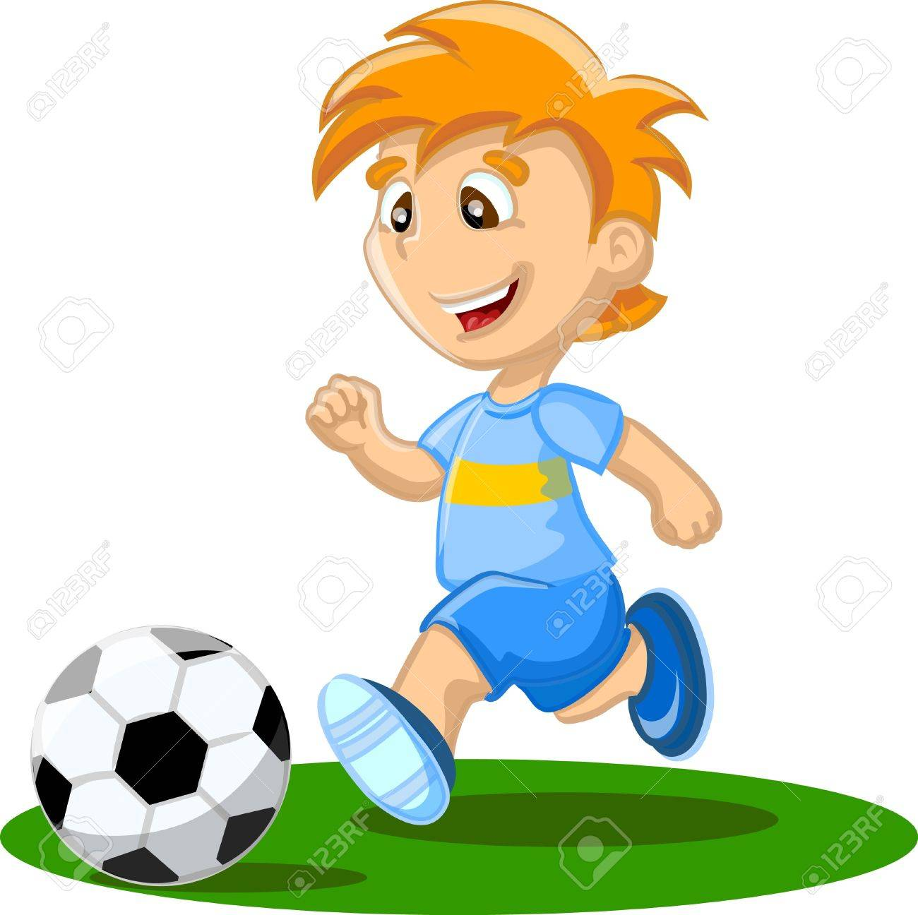 Boy is playing football, background Stock Vector - 17375452