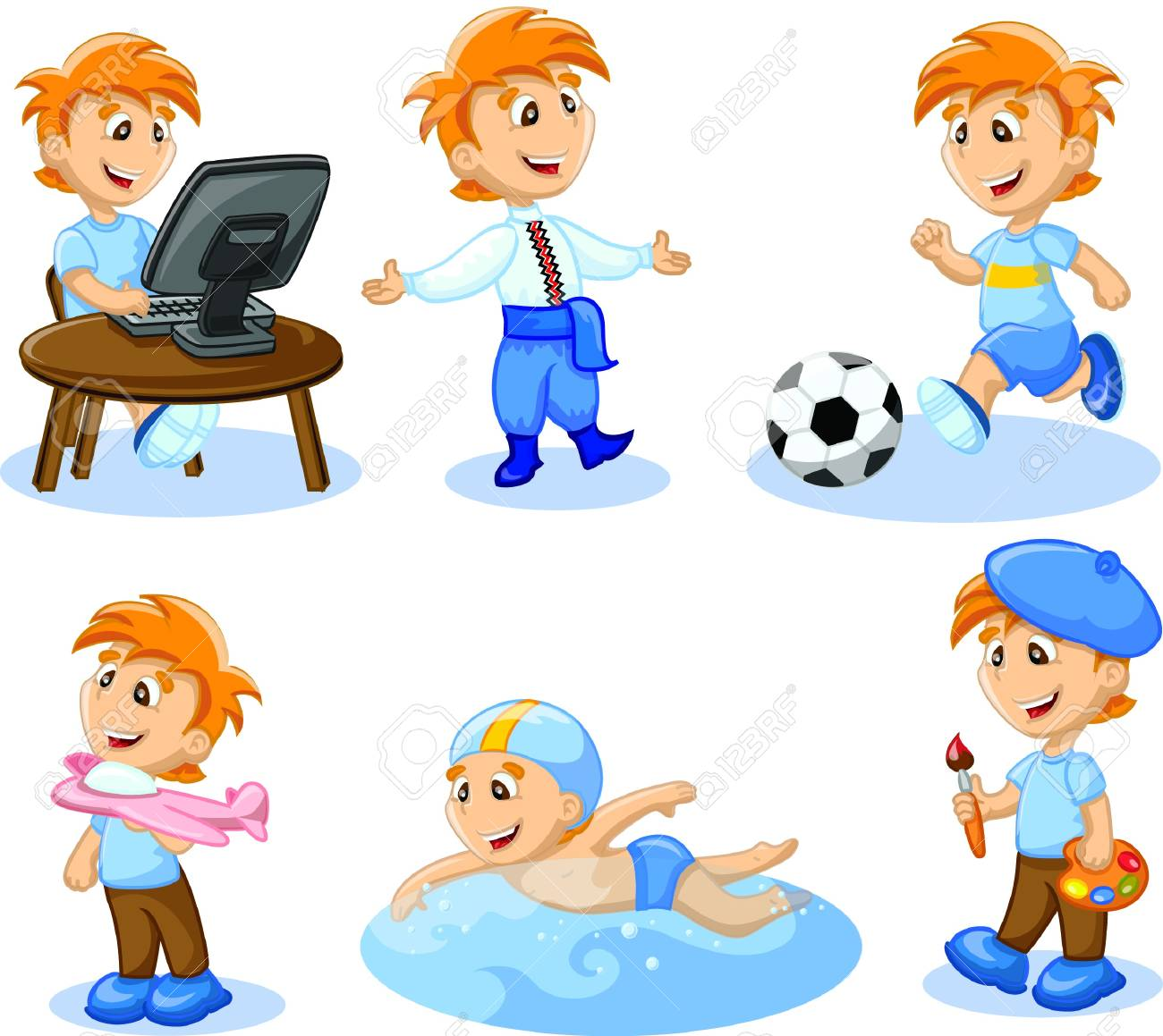 Boy Is Engaged In Hobbies Royalty Free Cliparts Vectors And Stock Illustration Image 17514735