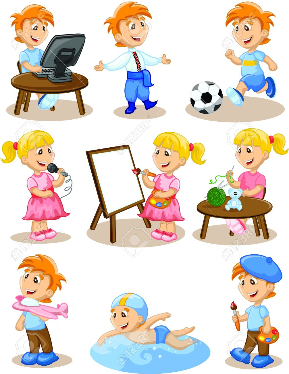 hobbies for kids. children are engaged in the hobbies stock vector - 17514736 for kids
