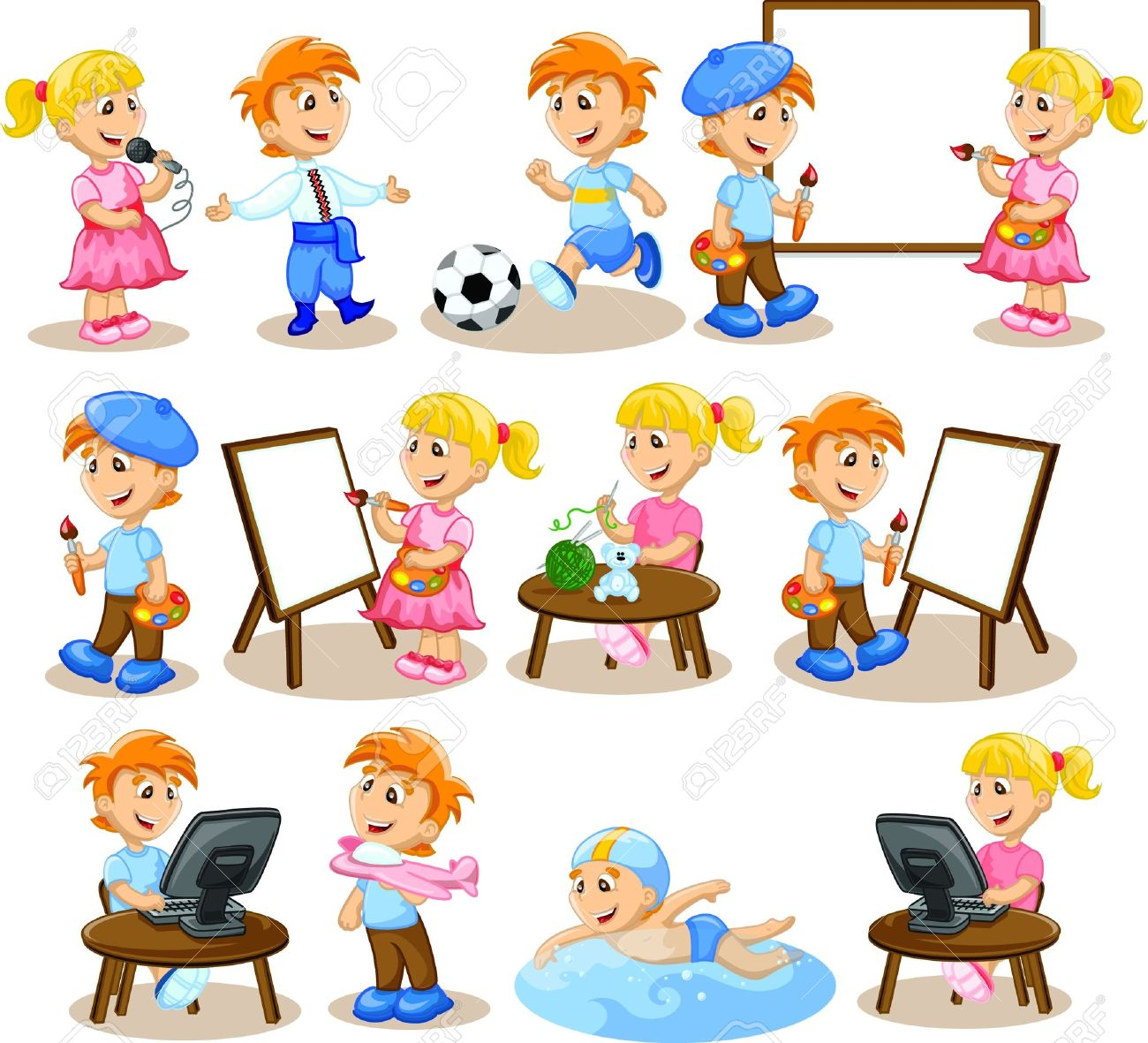 Children Are Engaged In The Hobbies Royalty Free Cliparts Vectors And Stock Illustration Image 17686314