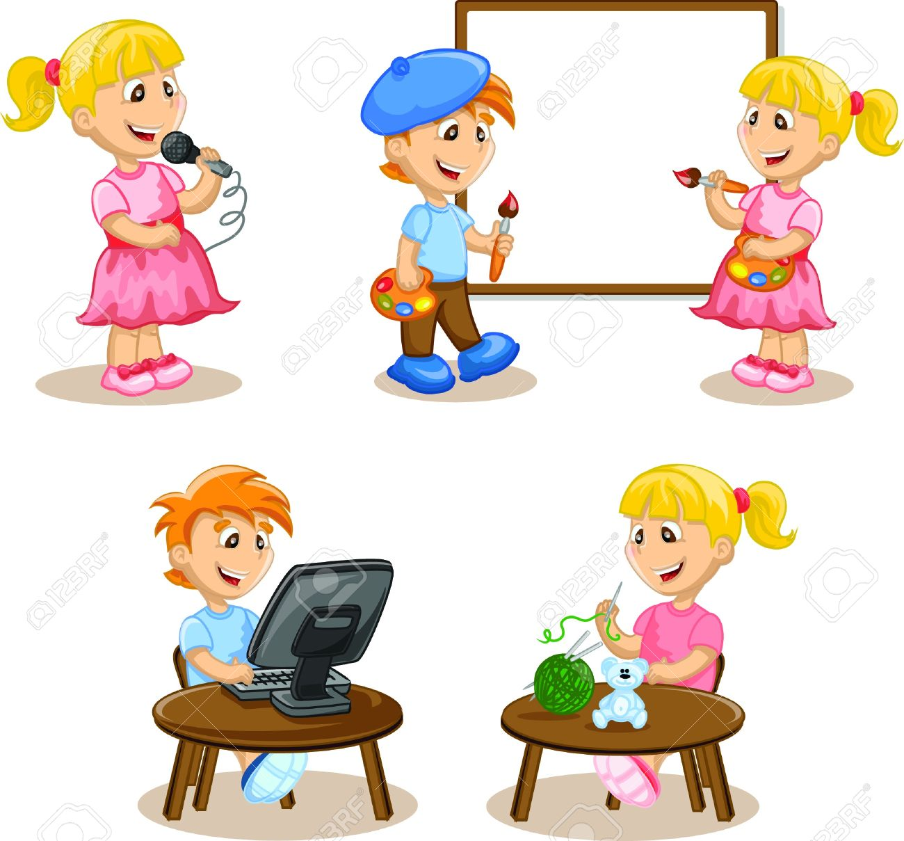 Children are engaged in the hobbies Stock Vector - 17686260