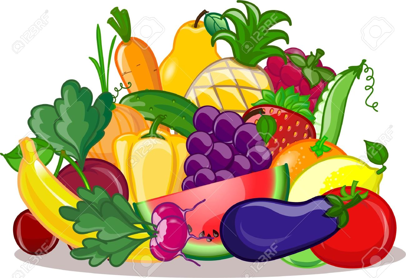 Vegetables and fruits, vector background - 17989110