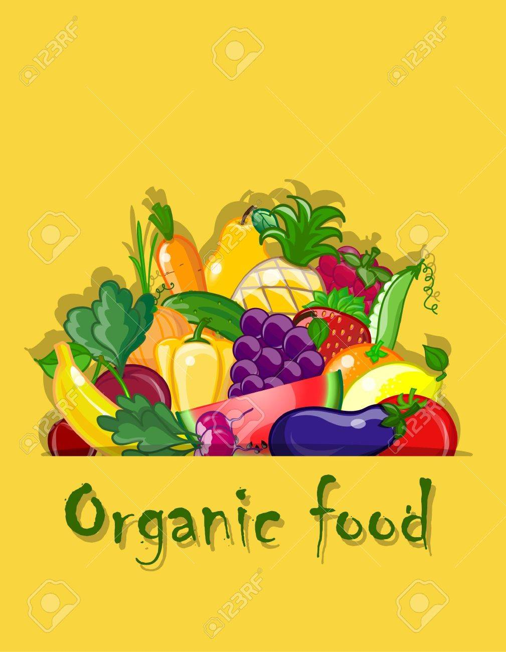 Vegetables and fruits, vector background Stock Vector - 17989114