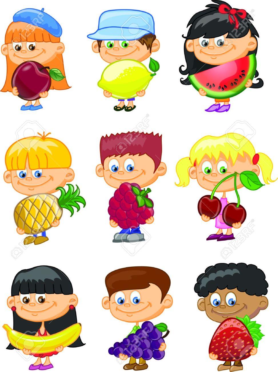 cartoon children with fruits stock vector 18101876 - Free Children Cartoon