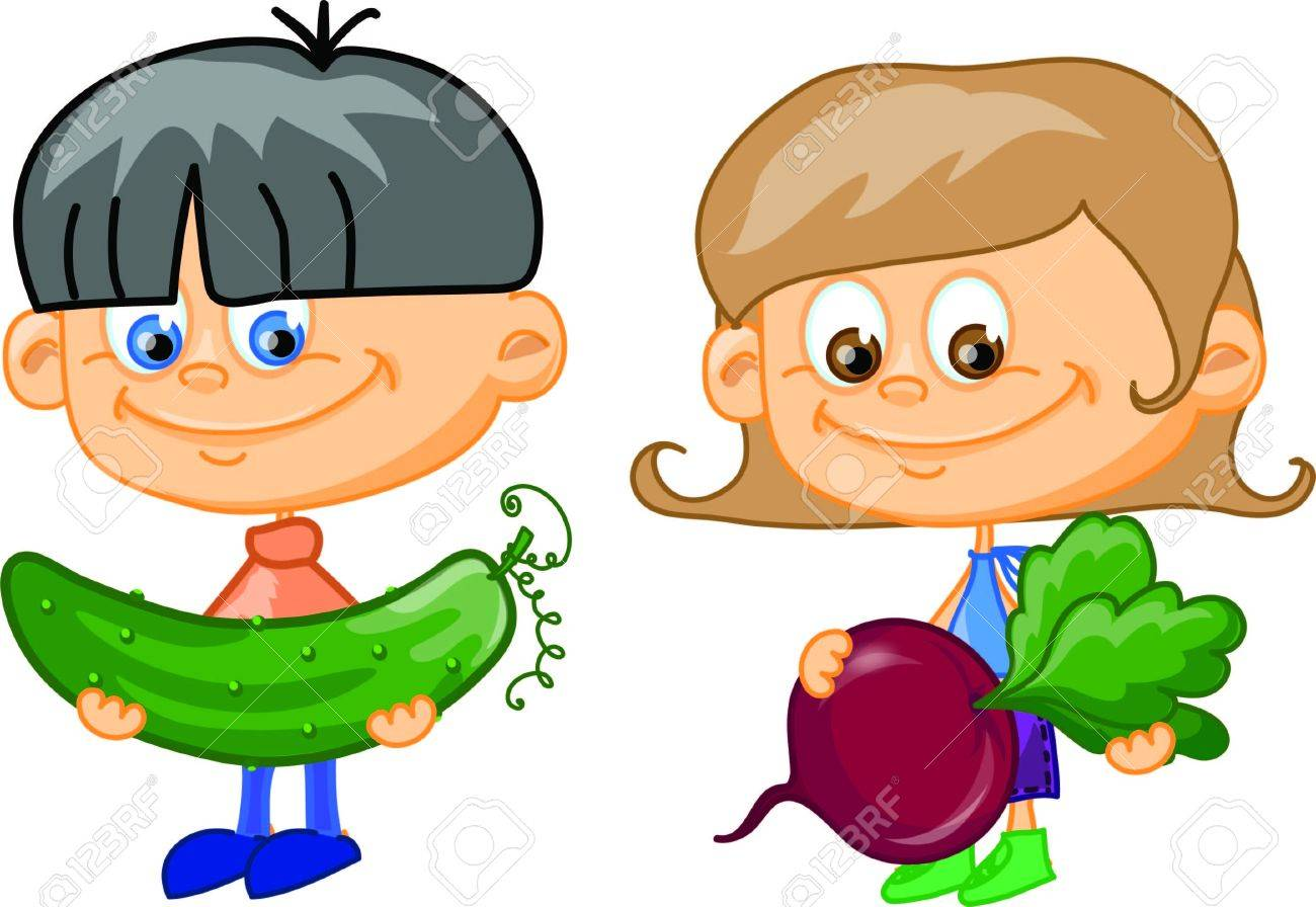 Vegetable garden kids drawing - Garden Radish Cartoon Children With Vegetables Illustration