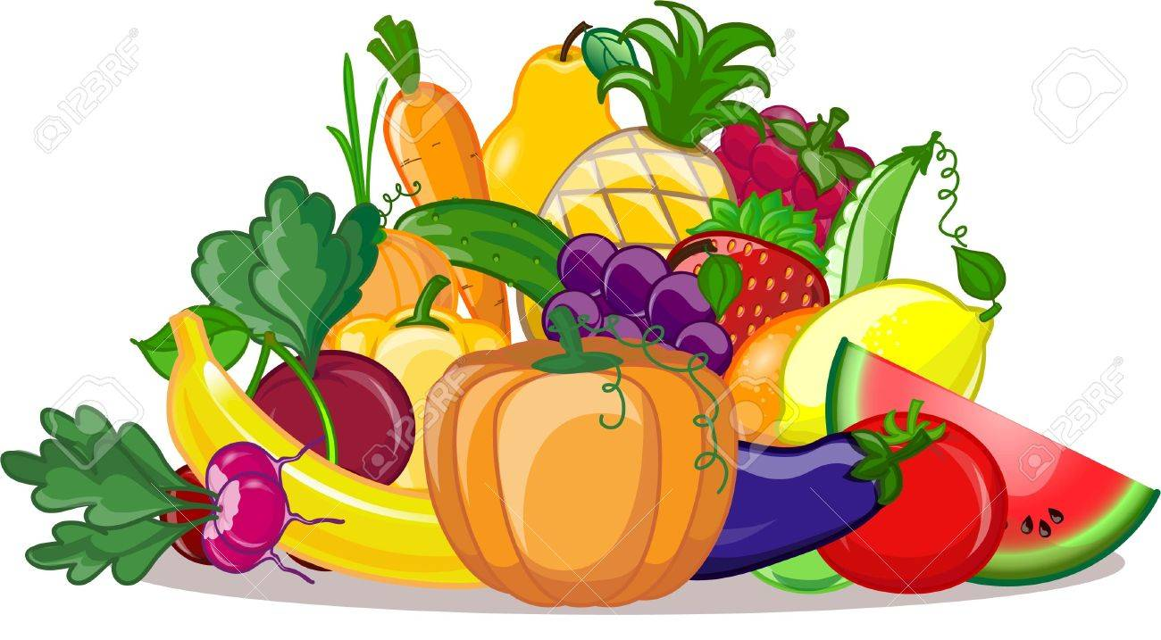Cartoon Vegetables And Fruits Royalty Free Cliparts Vectors And