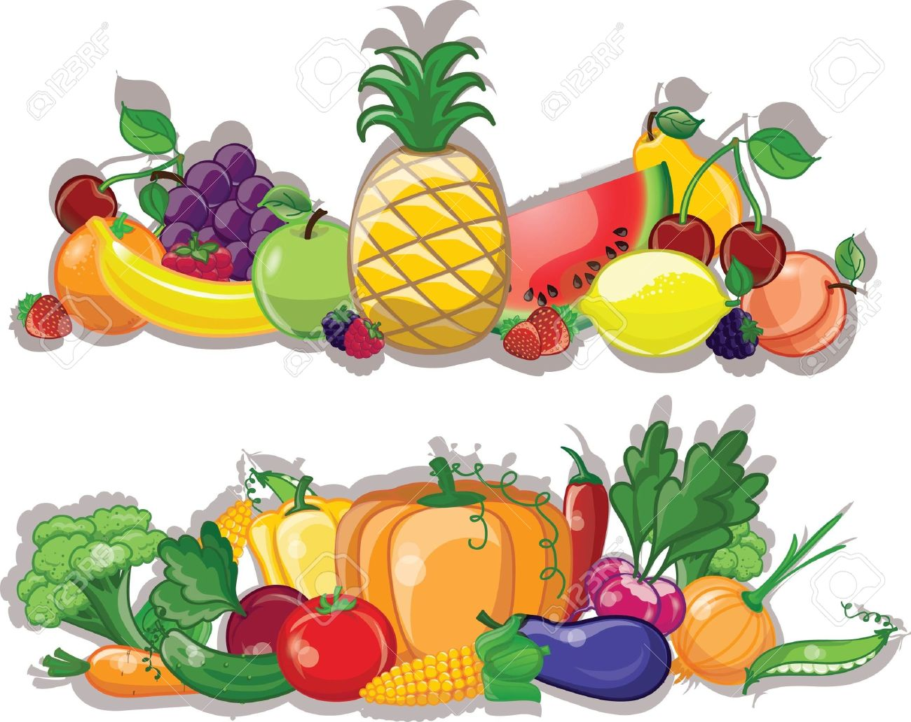 Cartoon vegetables and fruits, background - 20302580
