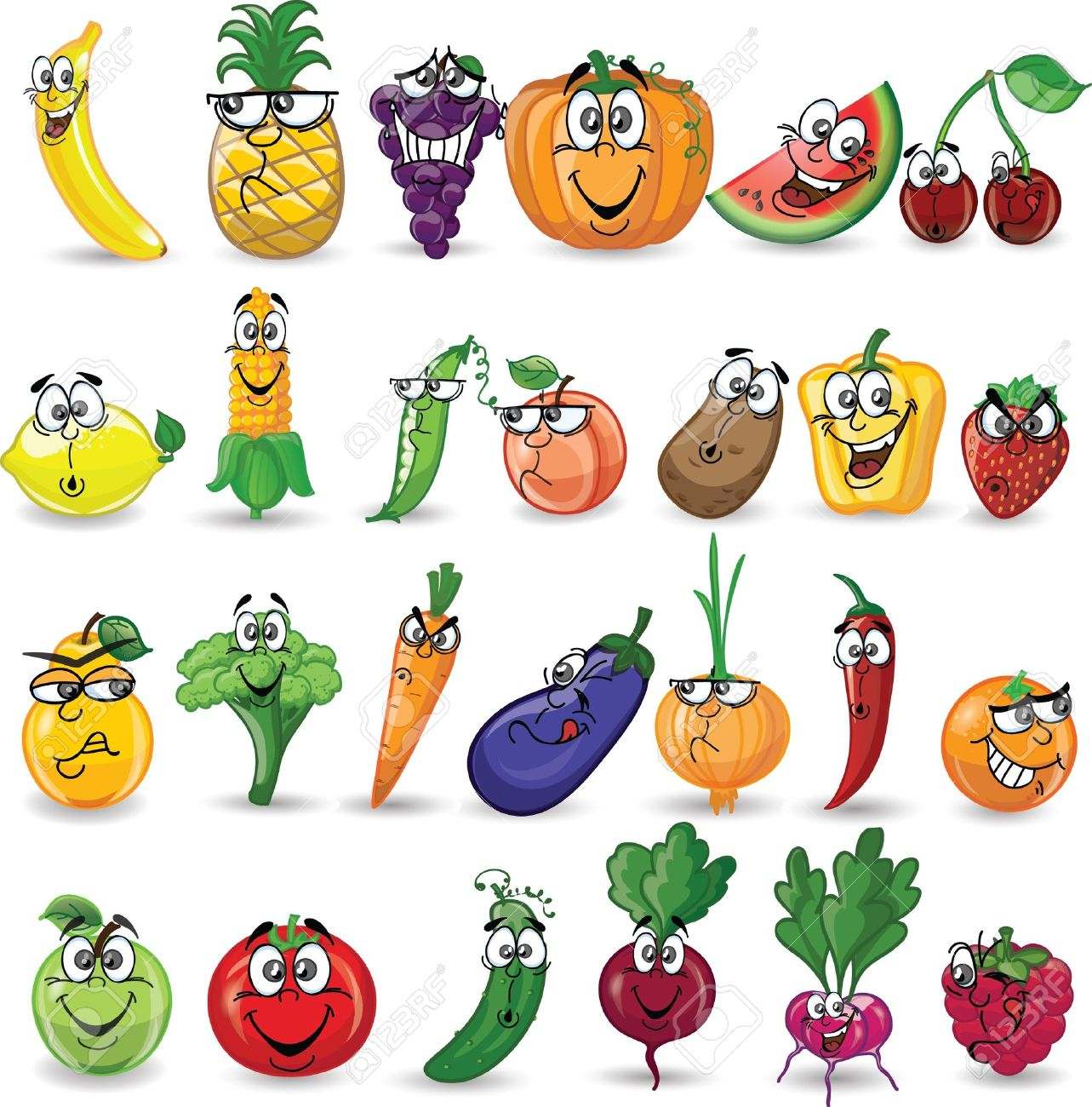 Cartoon vegetables and fruits - 21632778