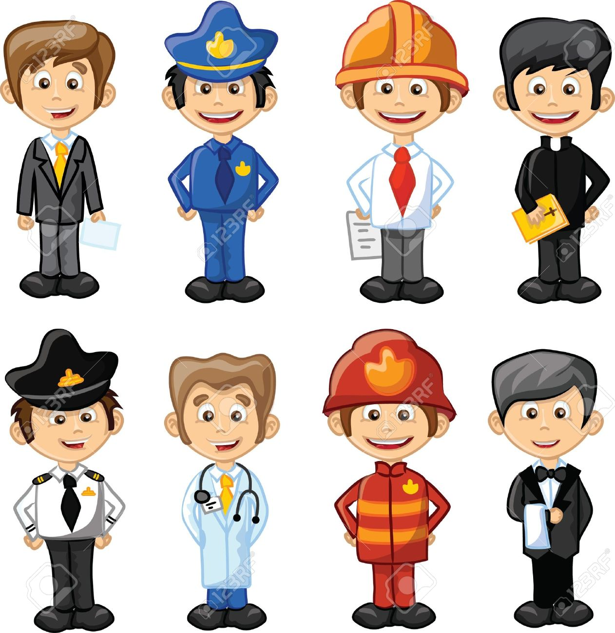 Cartoon characters manager, chef,policeman Stock Vector - 21632320