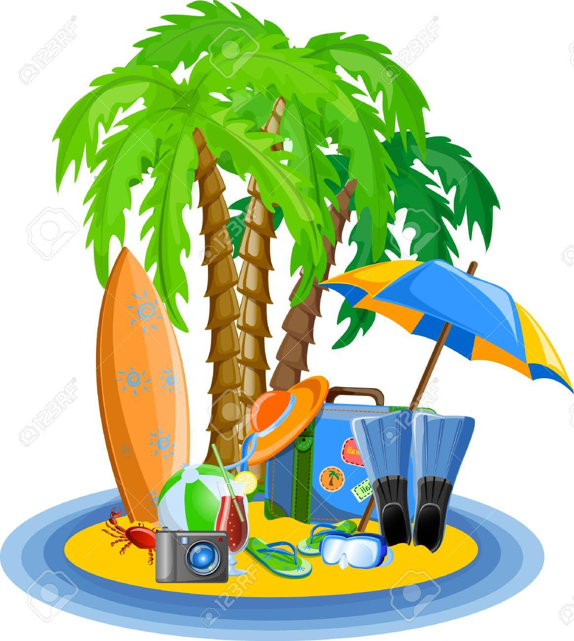 Travel icons, palm, ball, lounge, umbrella, flip-flops Stock Vector - 22812448