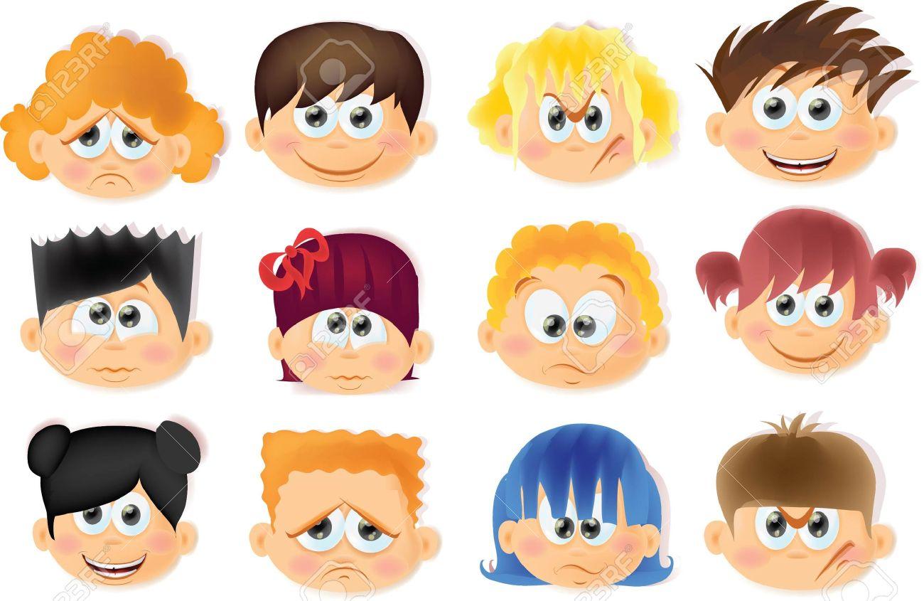 Niños Divertidos Dibujos Animados Con Emociones Ilustraciones