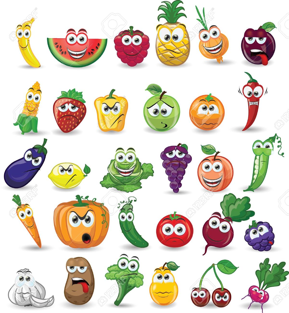 Cartoon vegetables and fruits - 25040994
