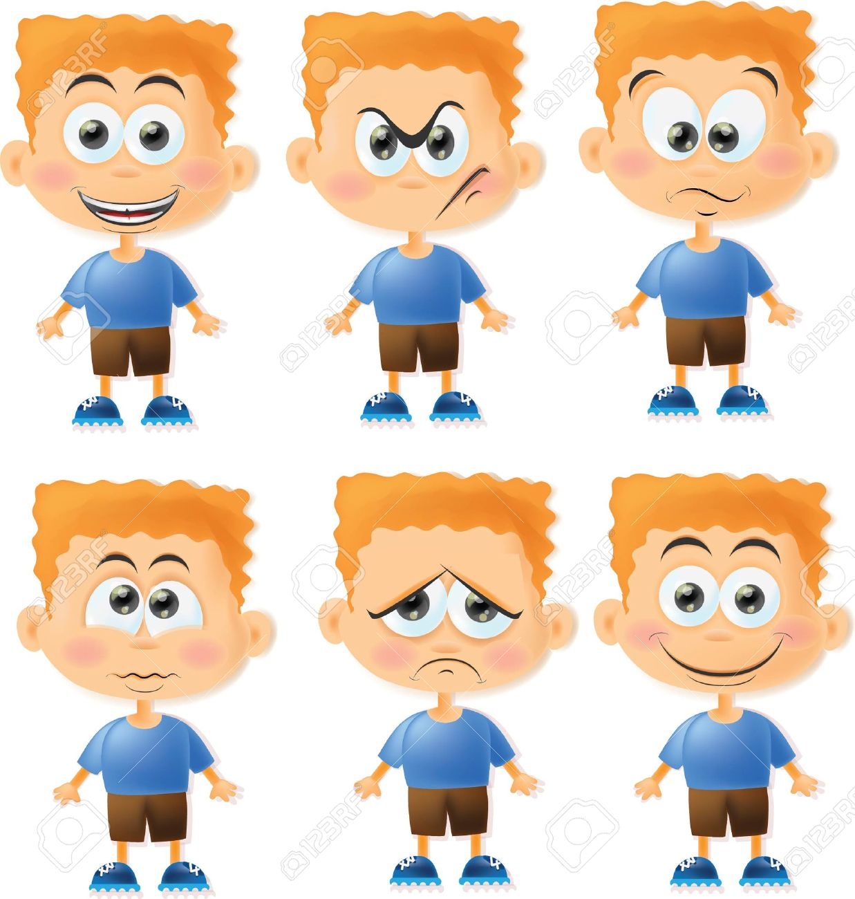 Conjunto De Dibujos Animados Los Niños Divertidos Con Emociones ...